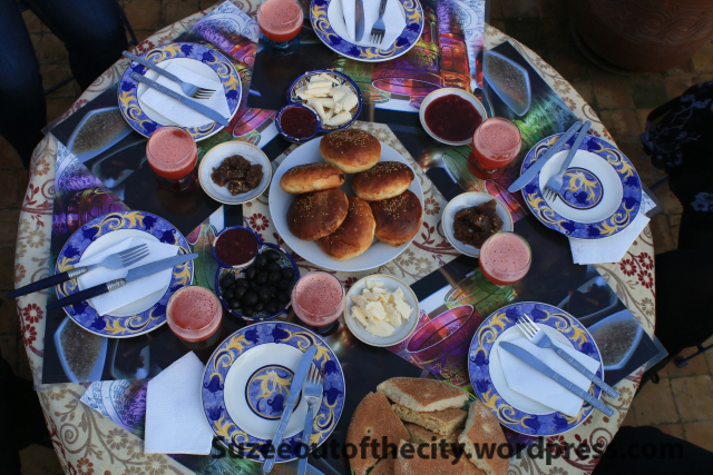 Our breakfast feast on the Dar's rooftop terrace, including heavenly strawberry juice.